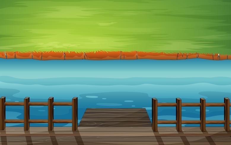 Une rivière avec un port en bois