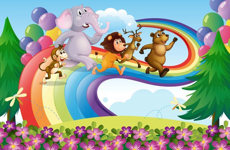 Un groupe d'animaux à l'arc-en-ciel