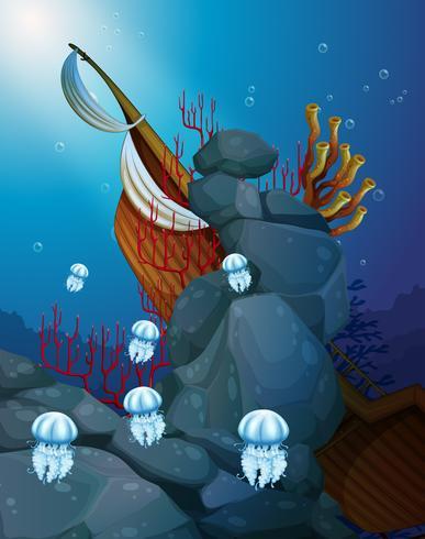 Kwallen onder de zee met een vergaan schip