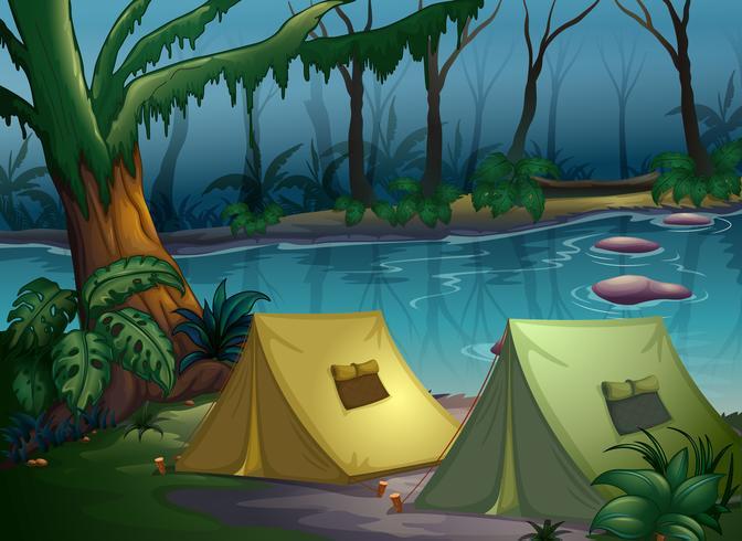 Een tentenkamp in het bos