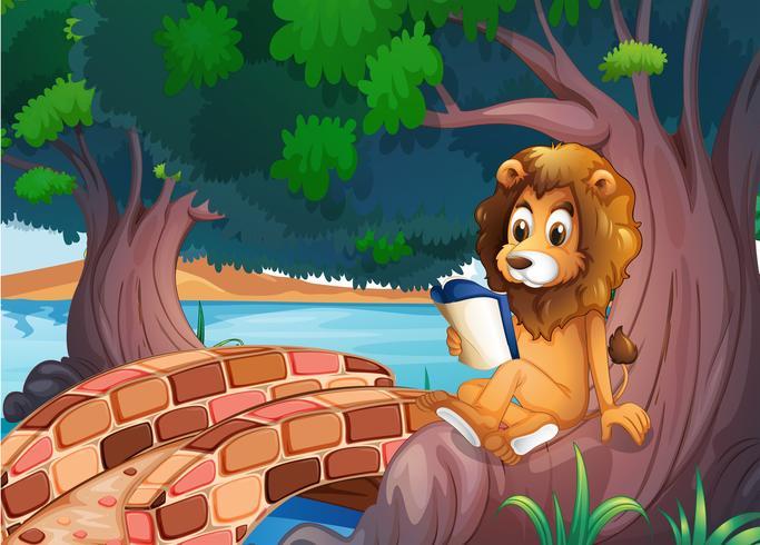 Een leeuw leest een boek boven de wortel van een grote boom