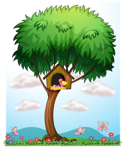 En fågel i ett träd med ett fågelhus