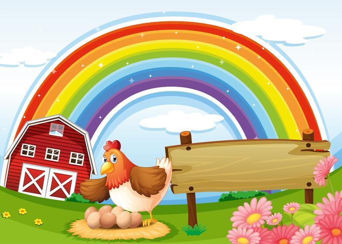 Una fattoria con un arcobaleno e un cartello vuoto