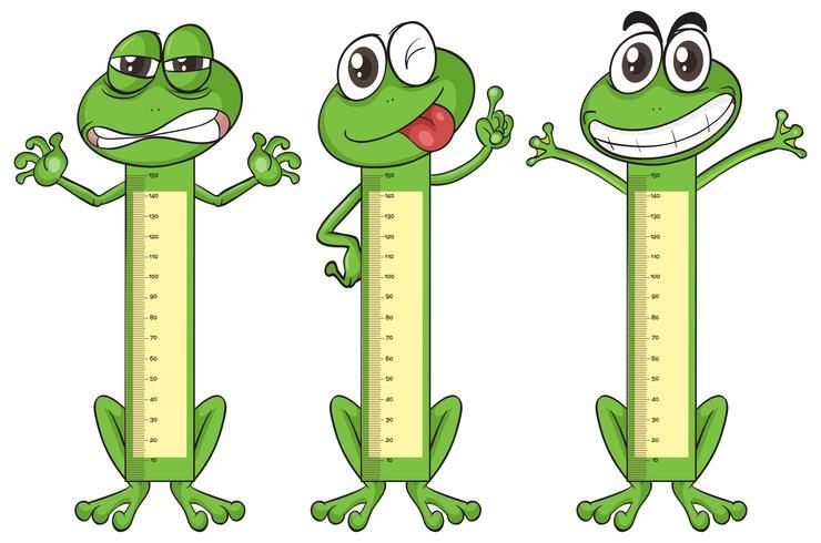 Gráfico de medição de altura com personagens de sapo