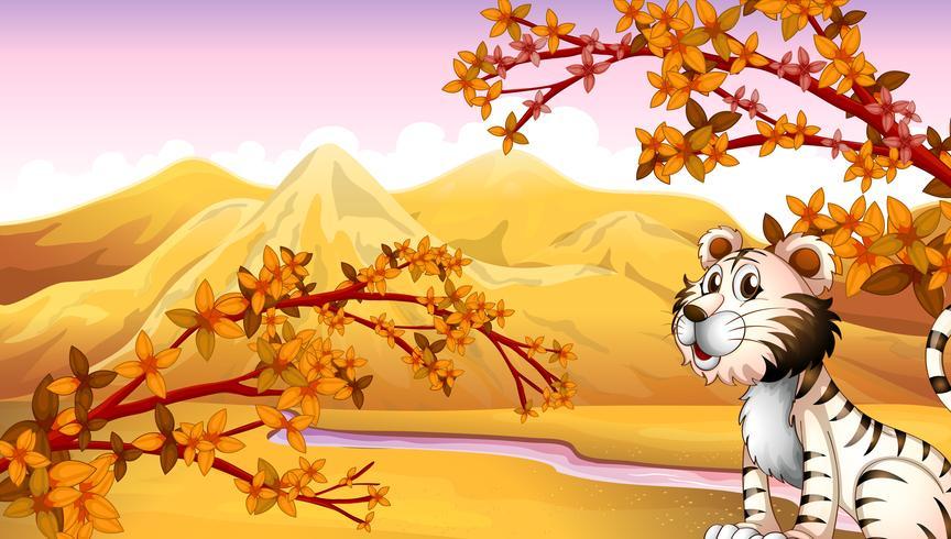 Um tigre ao lado do rio vetor
