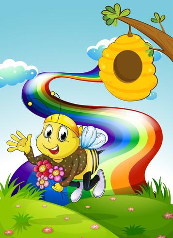 Un arco iris en la cima de una colina con una abeja y una colmena.