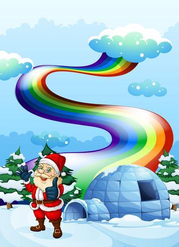 Eine lächelnde Sankt nahe dem Iglu mit einem Regenbogen im Himmel