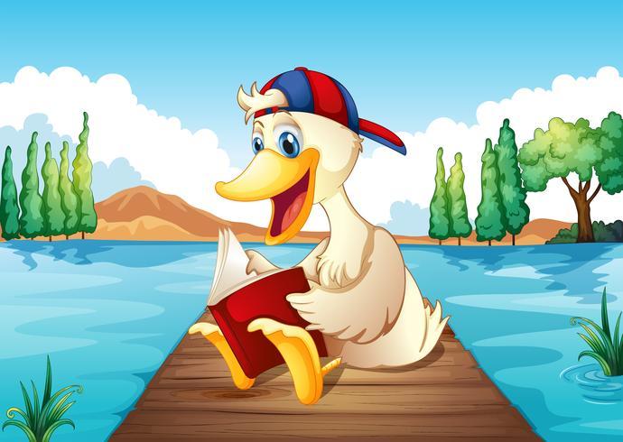 Un pato leyendo un libro en el puerto. vector