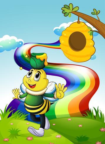Uma abelha sorridente carregando um pote de mel no topo da colina com um arco-íris