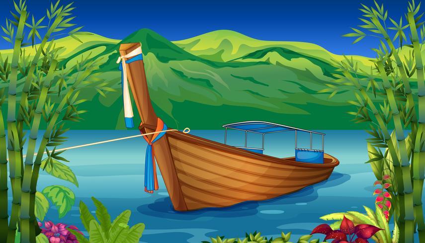 En båt nära bambuverket