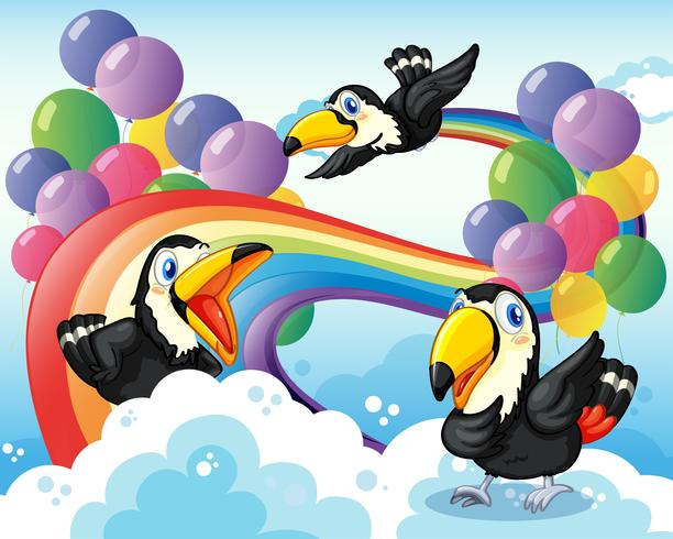 Três pássaros perto do arco-íris e balões