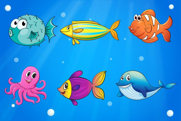 Sea creatures under the deep sea vector
