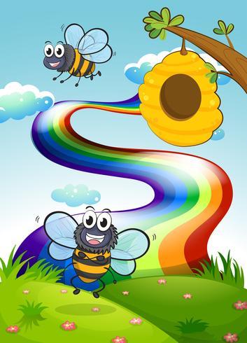 Um morro com abelhas e uma colméia perto do arco-íris
