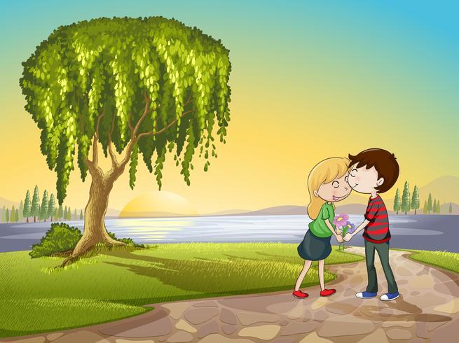 een jongen en een meisje in de natuur