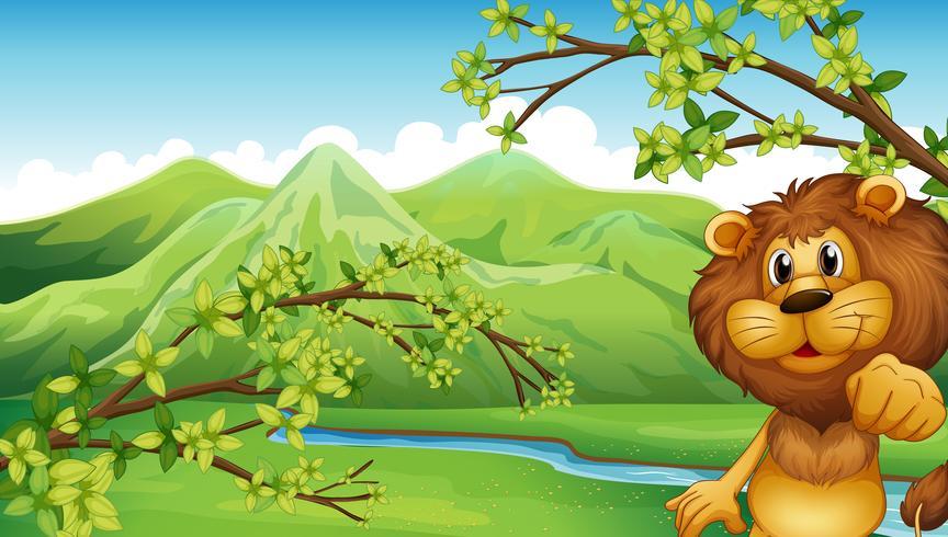 Un leone in uno scenario di montagna