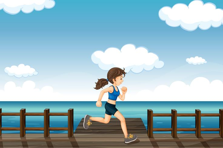 En ung kvinna joggar vektor