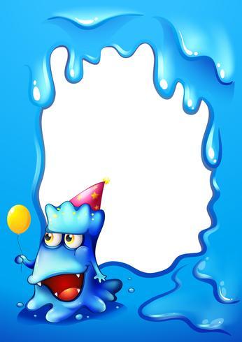 En blå kantdesign med ett monster som bär en hatt och håller en ballong