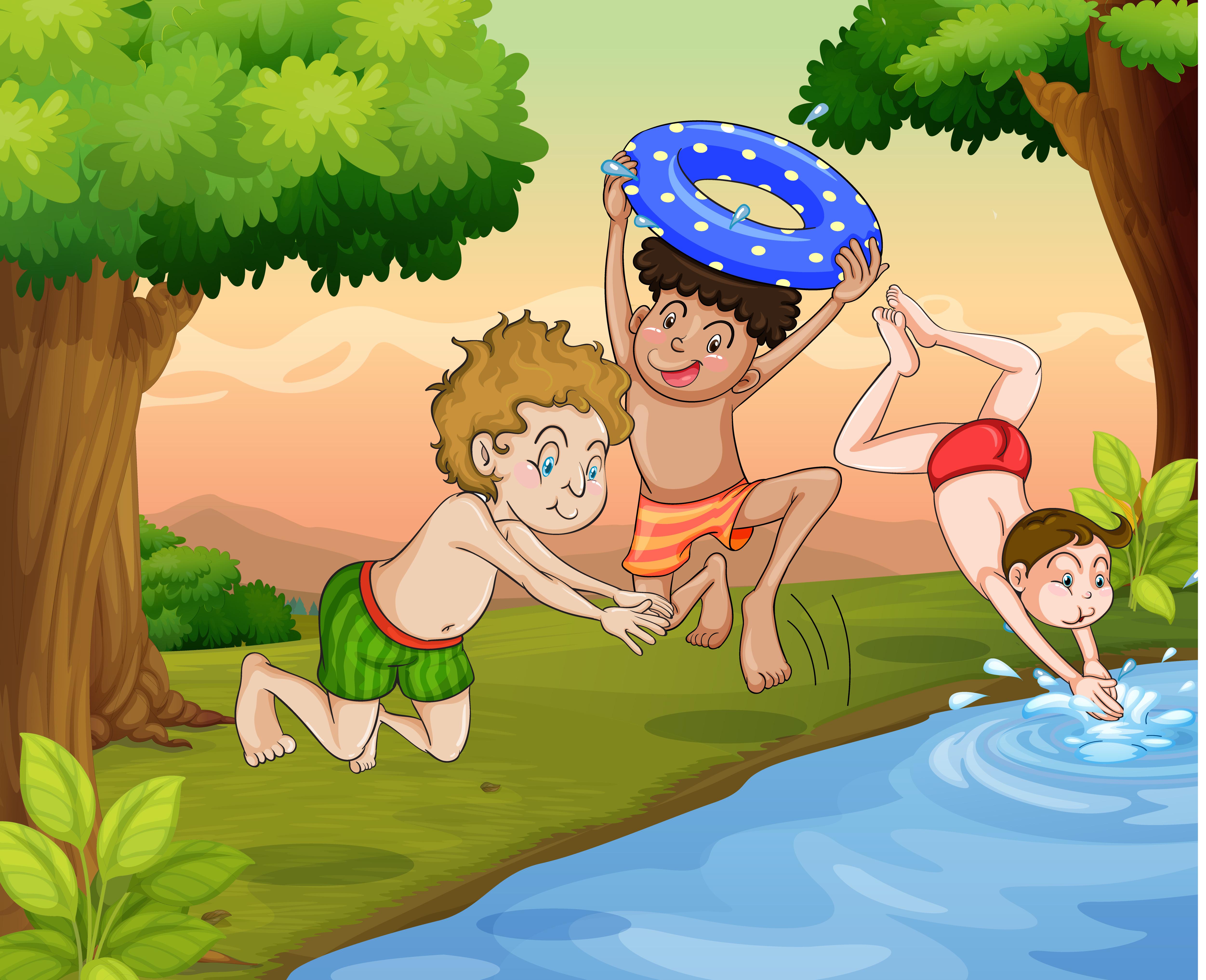 Дети купаются в речке картинка