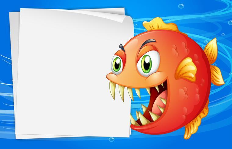 Een piranha onder de zee naast een leeg document