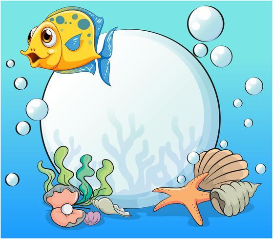 Un poisson orange près de la grosse perle