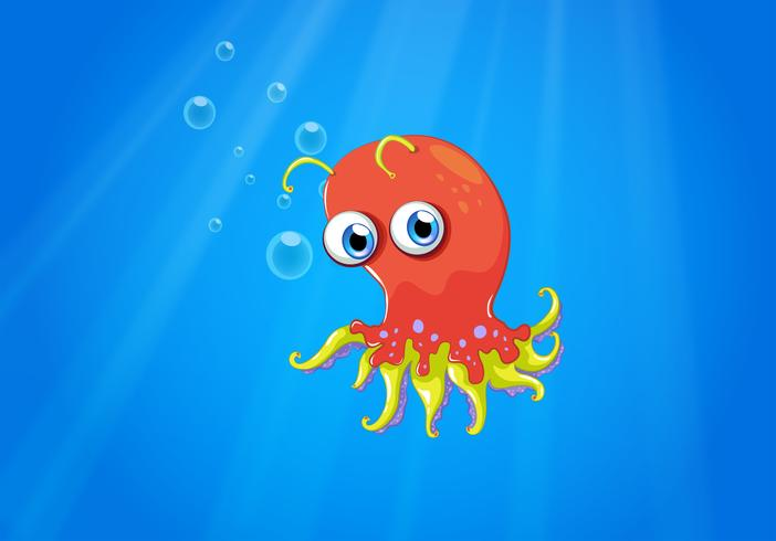 A red octopus in the middle of the sea