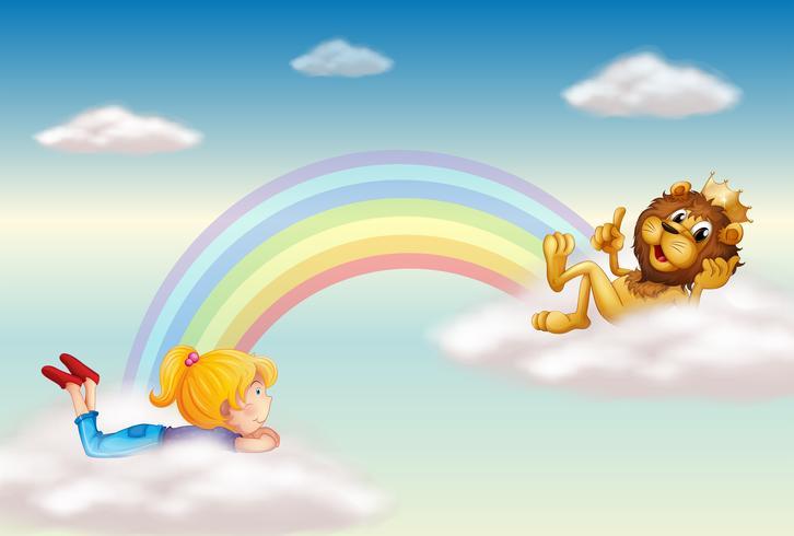 Una niña y un rey león cruzan el arco iris.