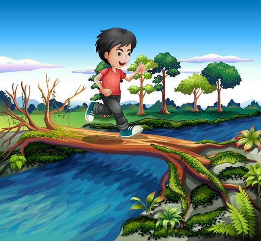 Een jongen die loopt tijdens het oversteken van de rivier