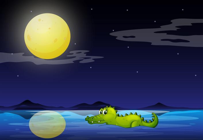 Un coccodrillo nell'oceano