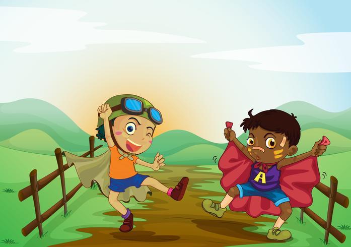 niños y paisajes terrestres