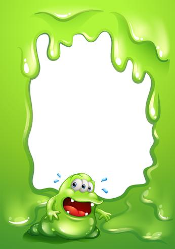 Une conception de frontière verte avec un monstre vert exerçant