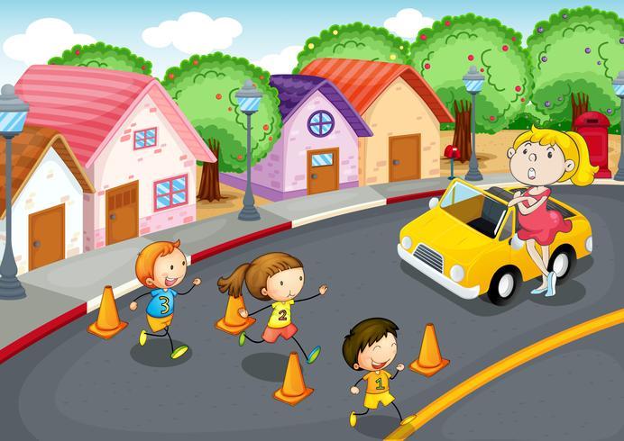 niños en la carretera