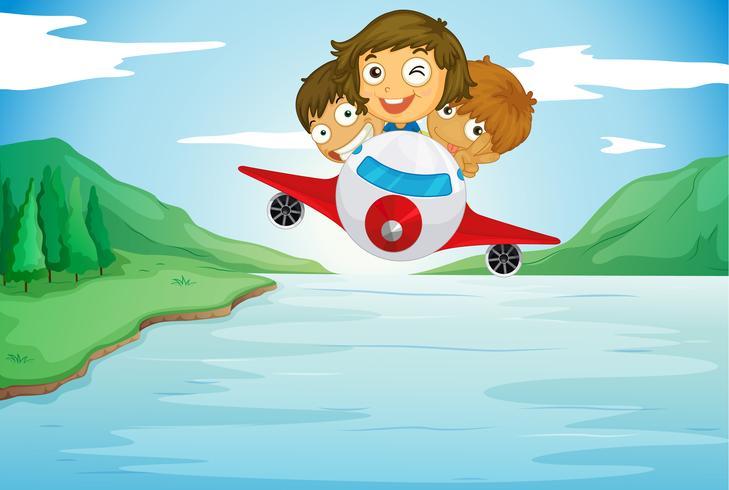 niños y avión