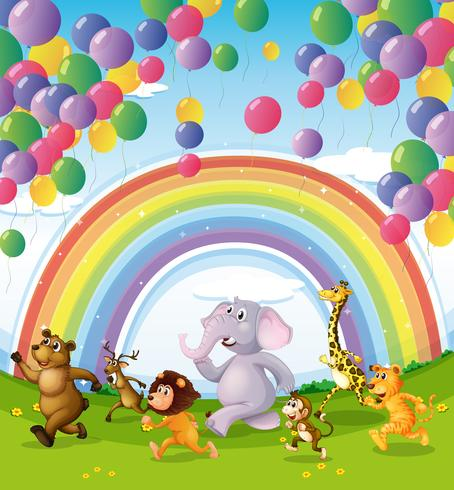 Animais correndo abaixo dos balões flutuantes e arco-íris