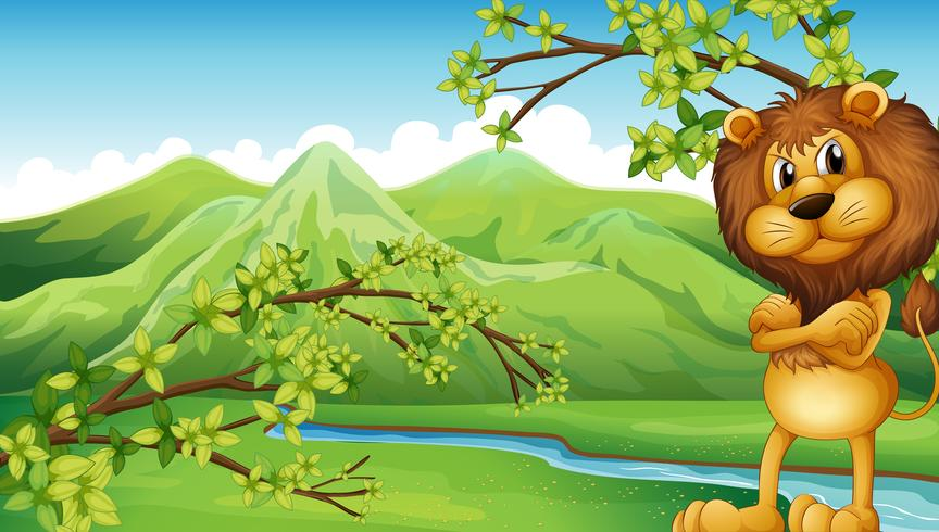 Een boze leeuw in de rivieroever