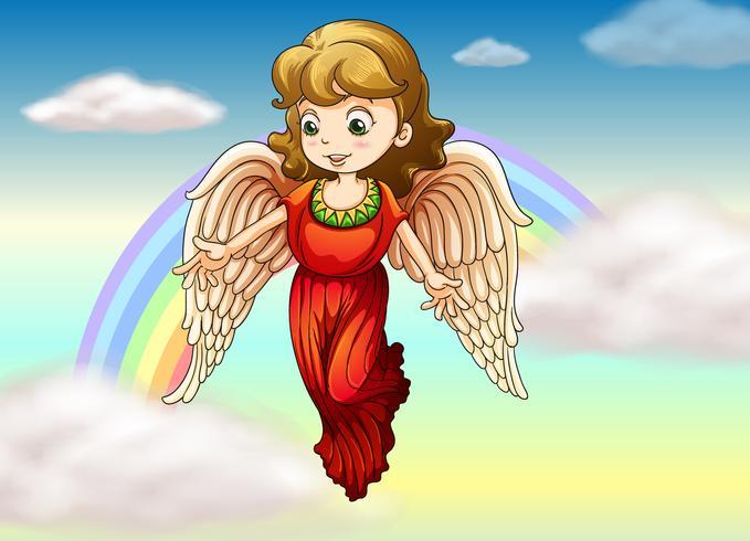 Un angel y un arcoiris