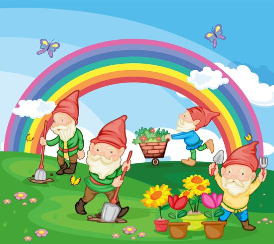 Cartoon illustration of gnomes