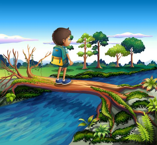 A boy with a backpack crossing the river