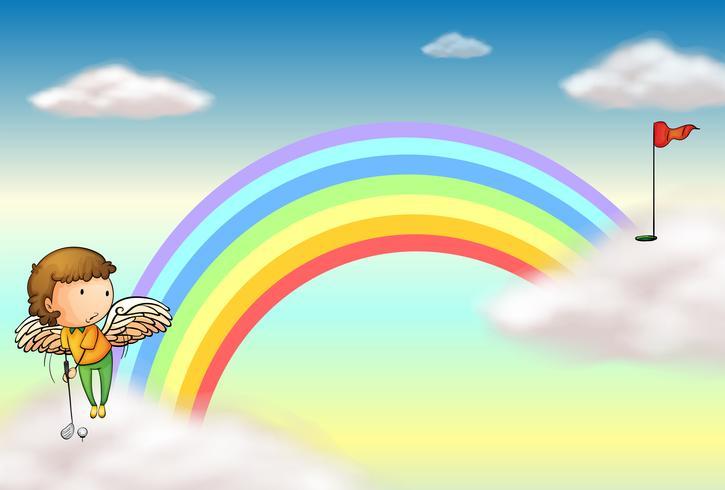 Ein Engel, der Golf nahe dem Regenbogen spielt