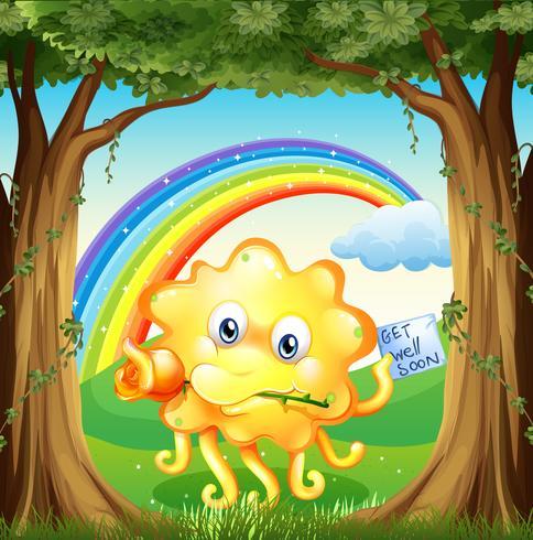 Een monster met een beterschapskaart en een regenboog in de lucht