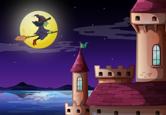 Eine Hexe, die zum Schloss geht