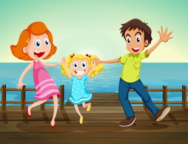 Eine glückliche Familie am Seehafen