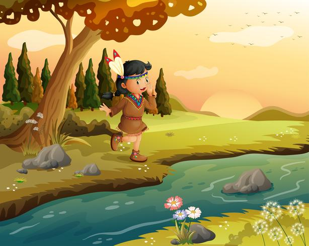 Uma garota indiana ao longo do rio
