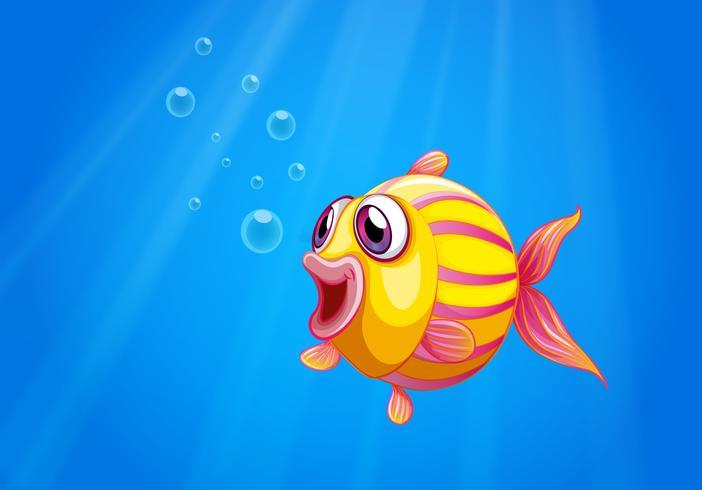 Um, coloridos, bolha, peixe, sob, a, mar