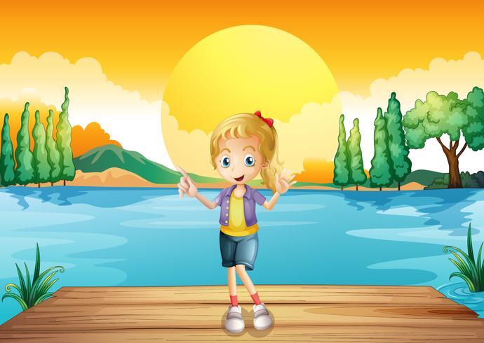 Een jong meisje dat zich boven de houten duikplank bevindt