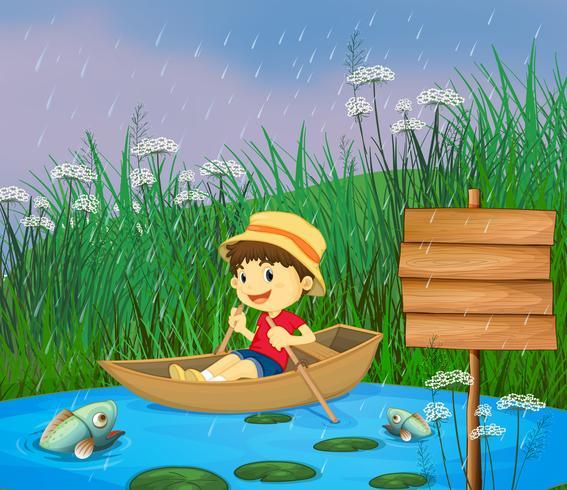En flod och en leende pojke i en båt