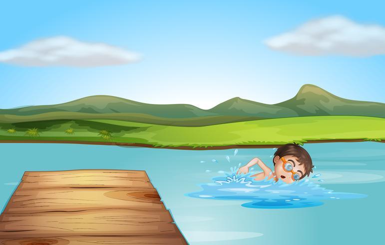 Um, menino, natação, perto, a, mergulhando tábua