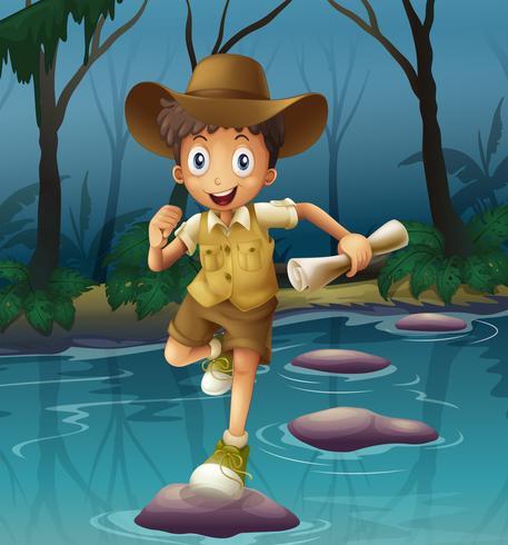 An adventurer running with a map