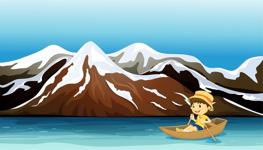 Ein kleiner Junge beim Bootfahren