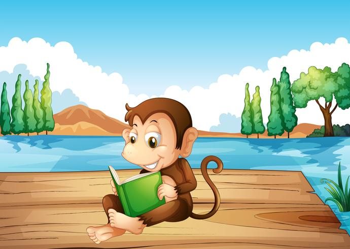 Un mono leyendo un libro sentado en el puerto.