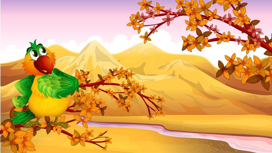 En bergsutsikt med en fågel